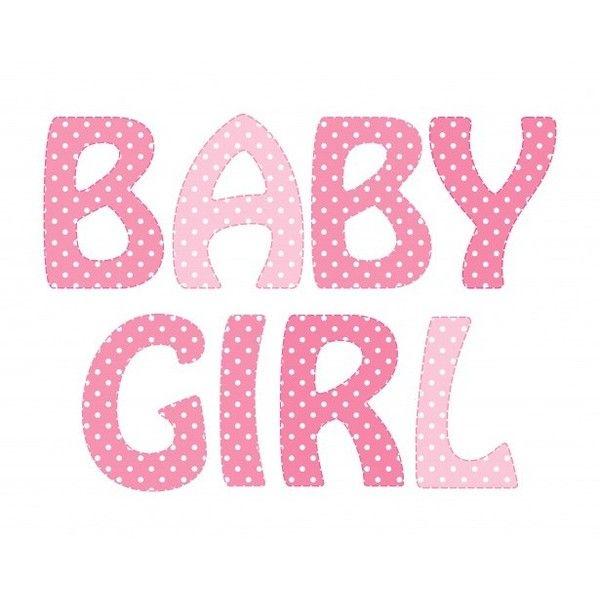Words clipart pink. Baby girl polka dots