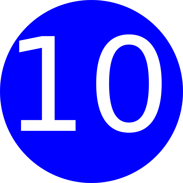 Square clipart ten. Blue rounded with number