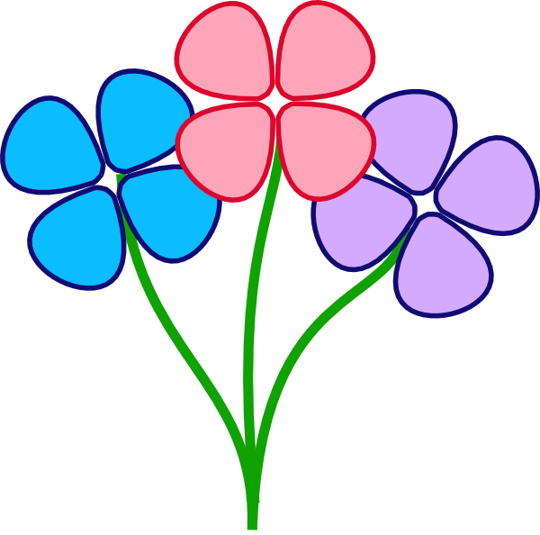 Three pretty flowers clip. E clipart flower