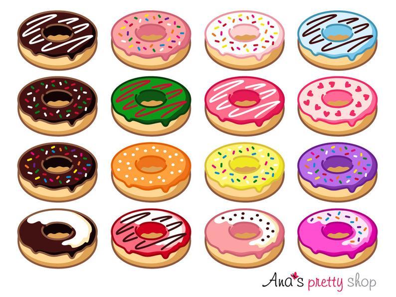 Donut clipart dozen. Doughnut sweet dessert pastry