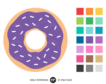 Donut illustration etsy breakfast. Doughnut clipart