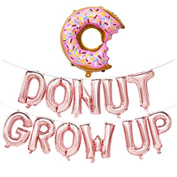 Doughnut clipart birthday. Donut grow up balloons