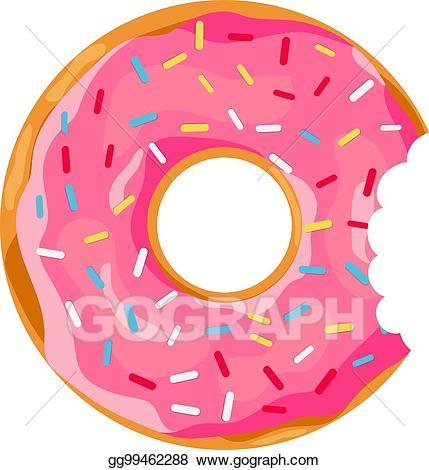 Doughnut clipart bite. Vector art donut with