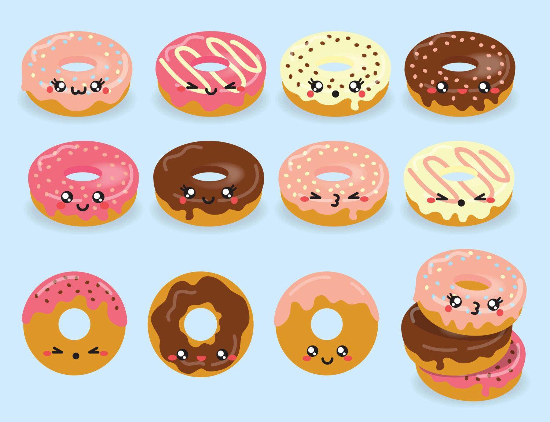 Premium vector donuts cute. Doughnut clipart kawaii