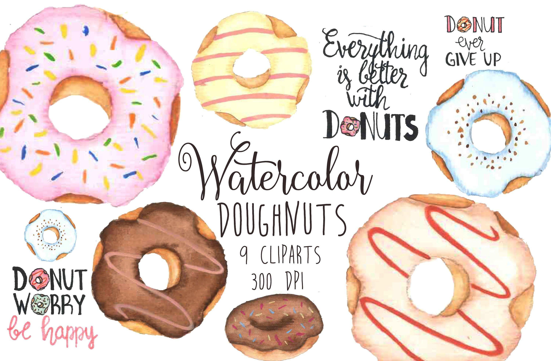 Watercolor clip art food. Doughnut clipart pastry