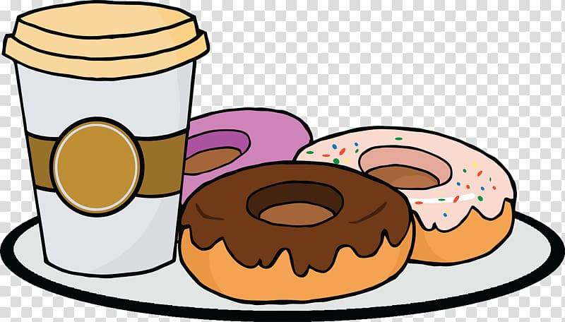 Donuts and disposable cup. Doughnut clipart plate donut