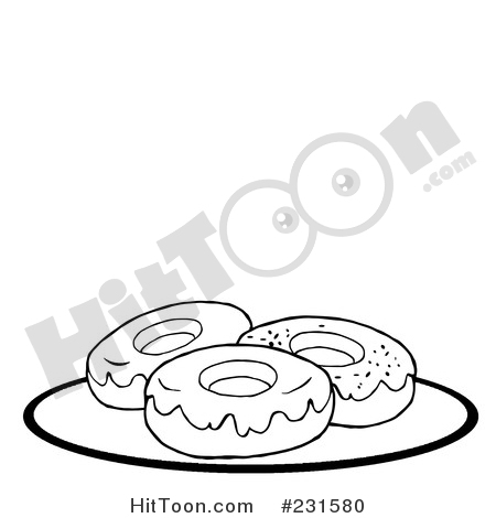 Doughnut clipart plate donut. Coloring page outline of