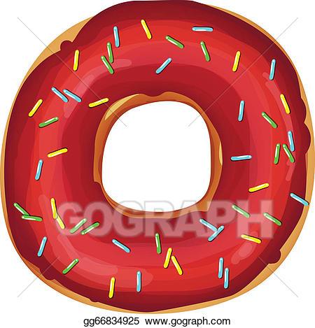 Vector art sweet donut. Doughnut clipart red