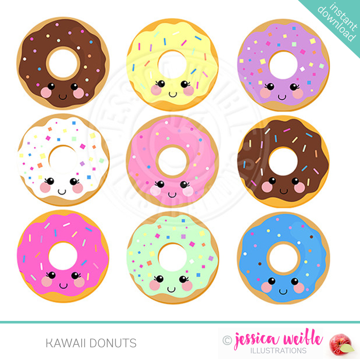 Doughnut clipart sweet. Kawaii donuts