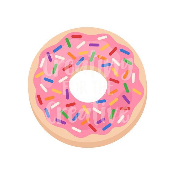 Pink donut donuts digital. Doughnut clipart sweet
