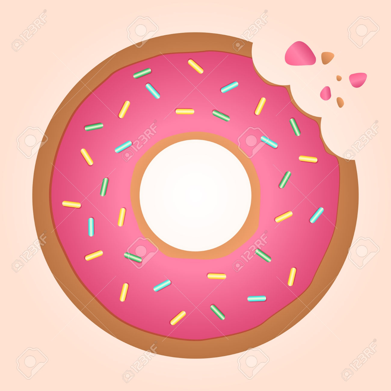 Donut with bite clip. Doughnut clipart word