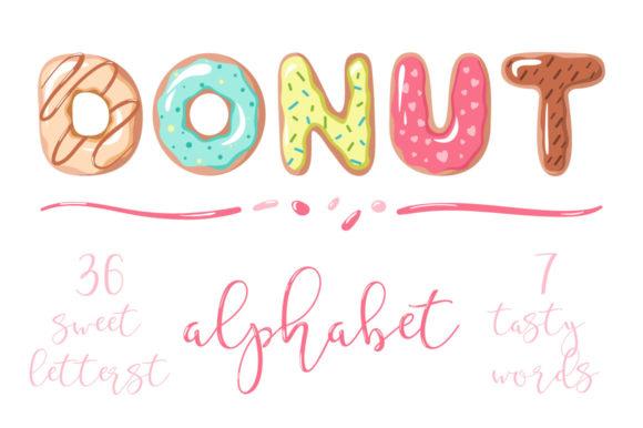 Donut font . Doughnut clipart word