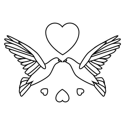 Free wedding doves bw. Dove clipart bridal