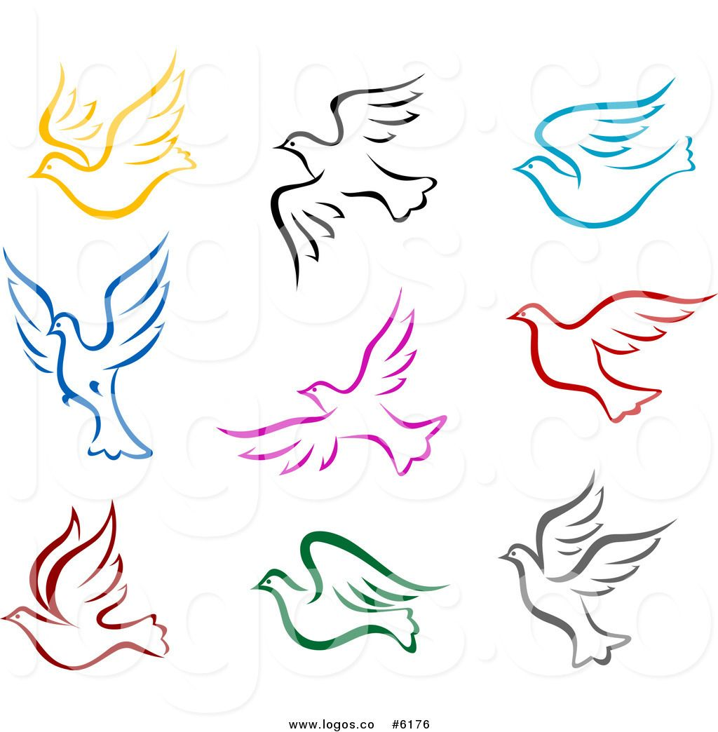 Clip art vector logos. Dove clipart colorful