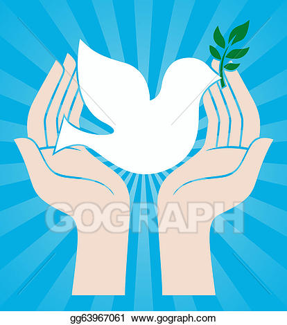 Drawing sign of hands. Peace clipart peaceful family