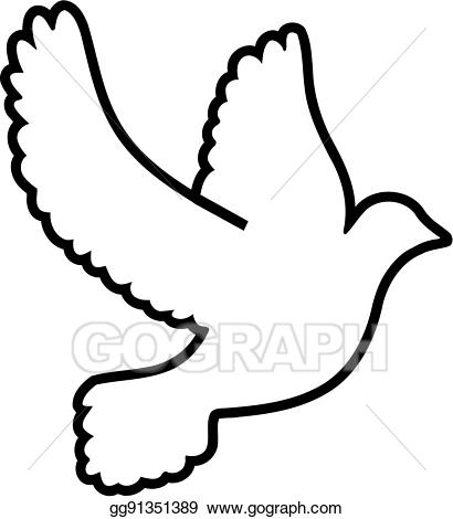 Vector art outline symbol. Doves clipart drawing