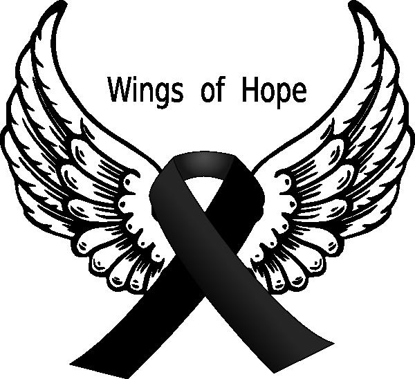 Black wings clip art. Dove clipart ribbon