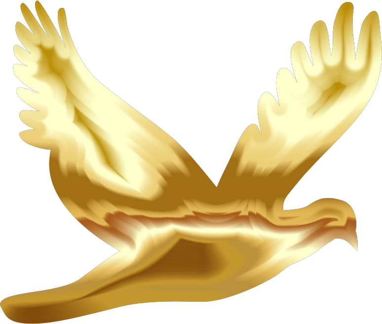 Doves clipart yellow. Gold flying dove silhouette