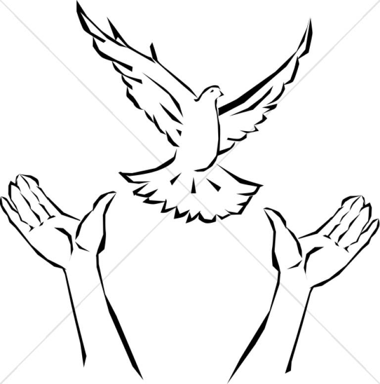 Hands releasing dove. Doves clipart