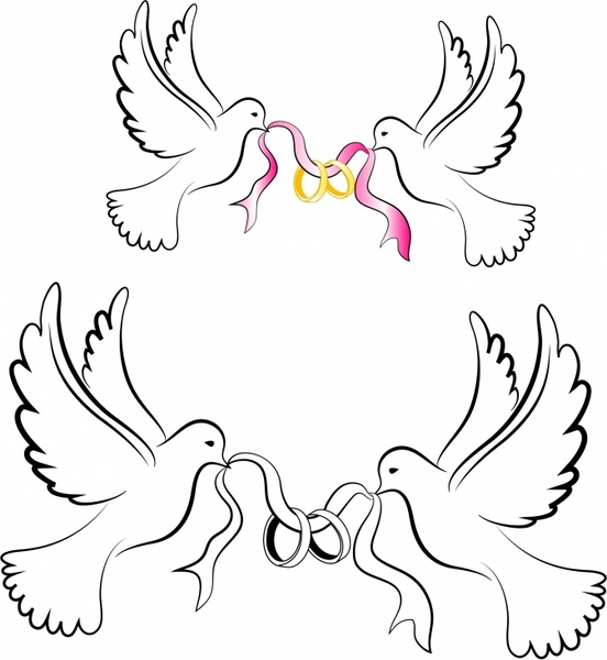 Doves clipart bridal. White wedding with rings