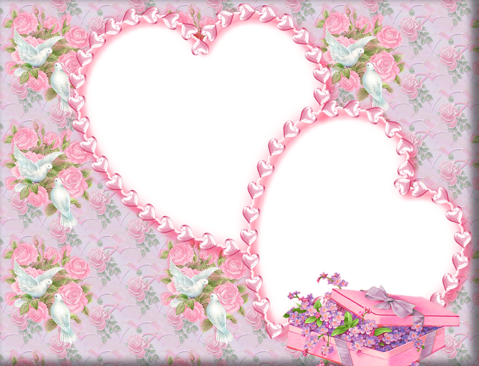 Cute png photo frame. Doves clipart pink