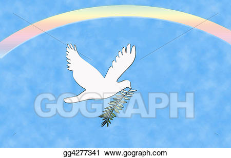Drawing peace dove gg. Doves clipart rainbow