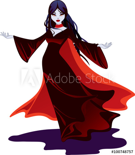 Beautiful vampire in a. Dracula clipart female