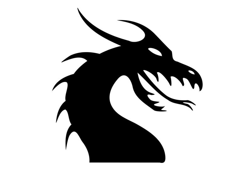 Svg silhouette dragons dxf. Dragon clipart