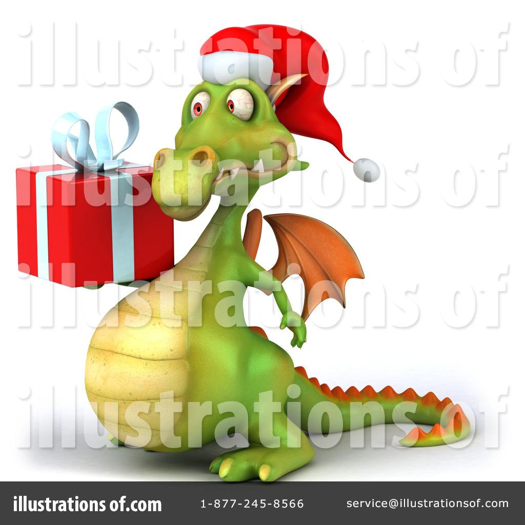 Illustration by julos . Dragon clipart christmas