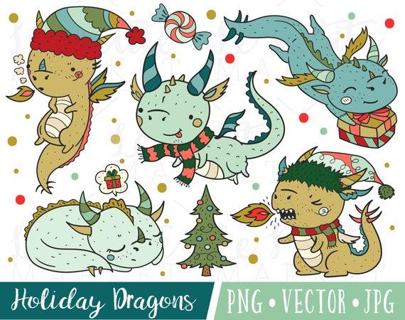 Dragon clipart christmas. Cute images kawaii dragons