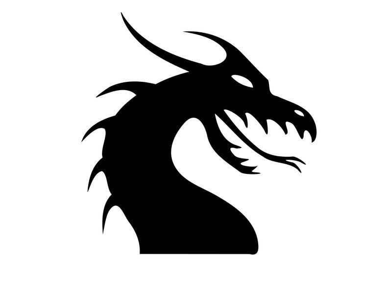 Svg silhouette dragons dxf. Dragon clipart dargon