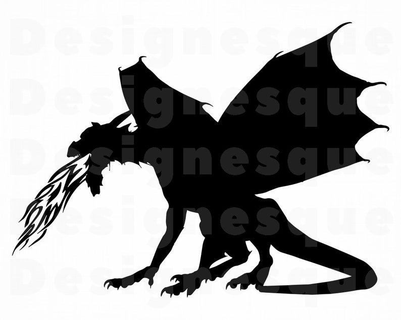 Dragon clipart fire breathing dragon. Svg files for cricut