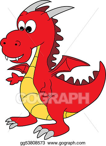 Vector art cute red. Dragon clipart happy dragon