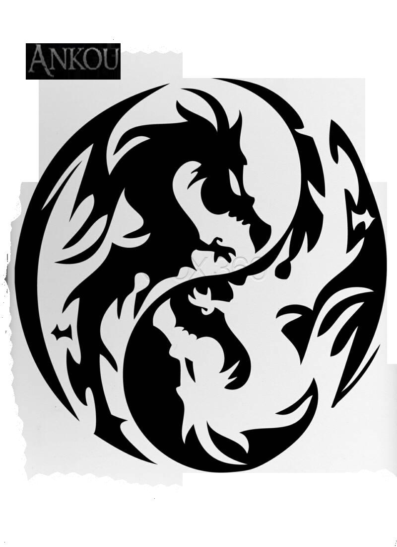 Dragon clipart tribal dragon. Yin yang lotus flower