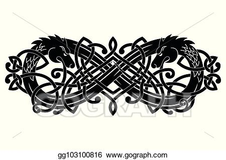 Dragon clipart two headed. Vector stock celtic