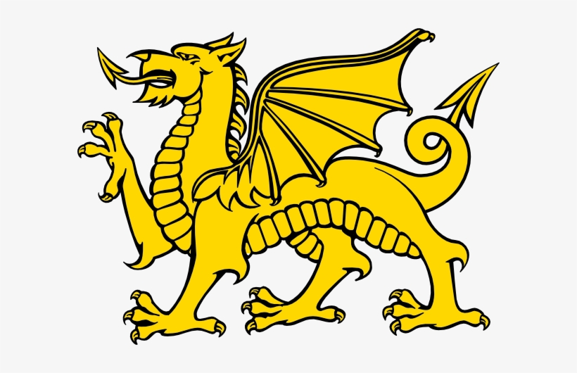 Flag of wales png. Dragon clipart yellow