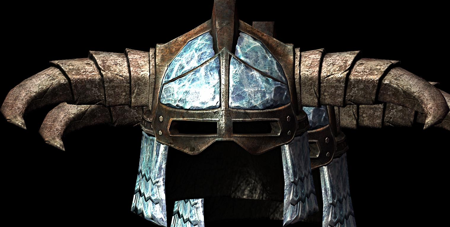 Dragonborn helmet png. Skyrim iron stalhrim helm