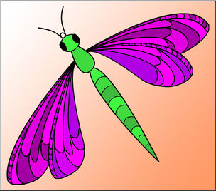 Clip art insects color. Dragonfly clipart colored