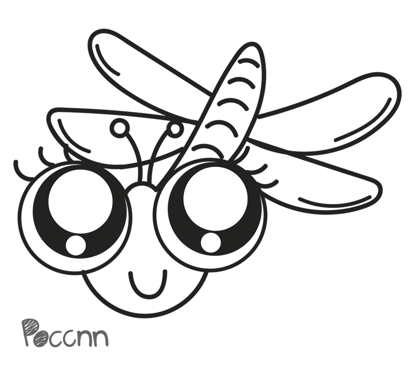 Cute to color by. Dragonfly clipart colored