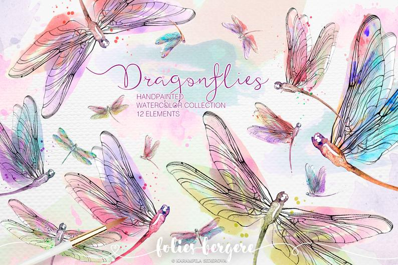 Watercolor wreath peach pink. Dragonfly clipart colorful dragonfly