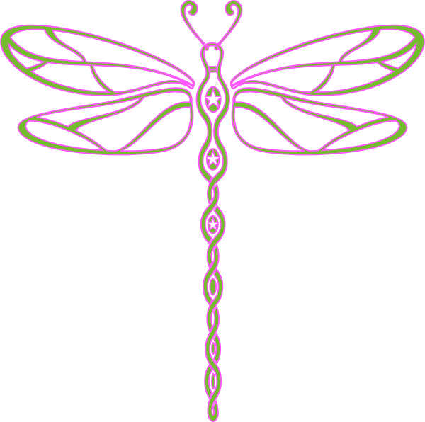 Pink and green clip. Dragonfly clipart insect