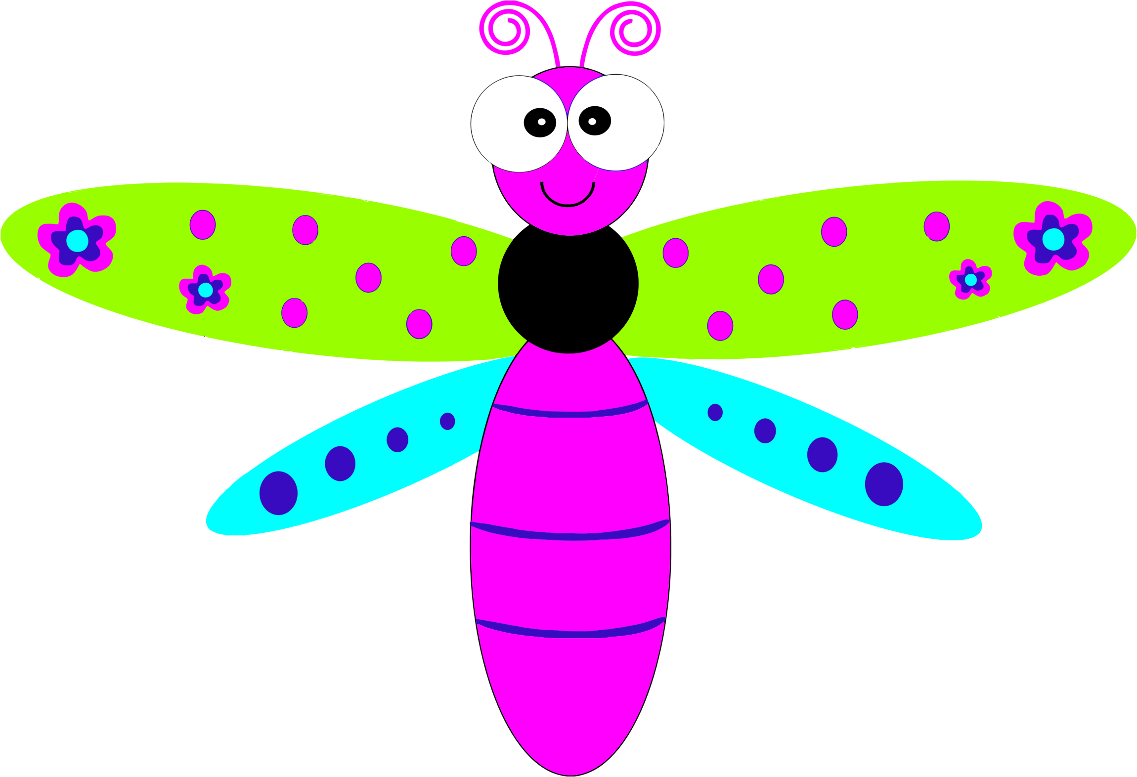 Dragonfly clipart insect. Friendly cartoon big image