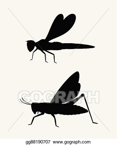 Dragonfly clipart shape. Eps vector grasshopper and
