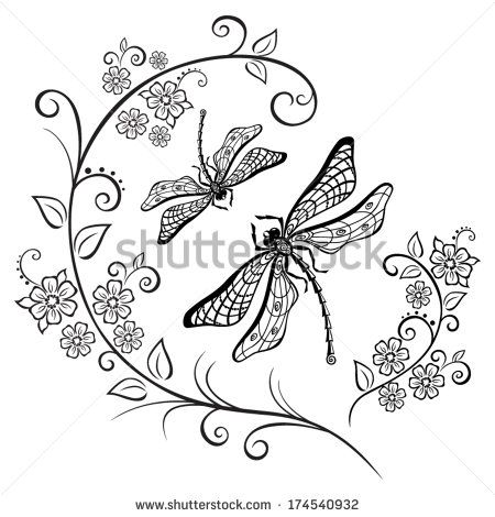 Swirls stock photos images. Dragonfly clipart swirl