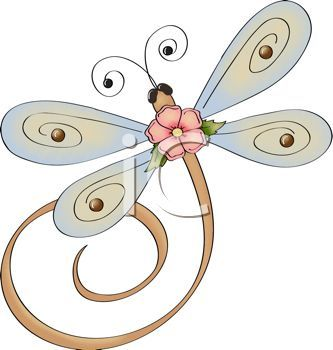With a flower royalty. Dragonfly clipart whimsical