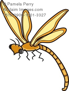 Dragonfly clipart yellow dragonfly. Clip art illustration of