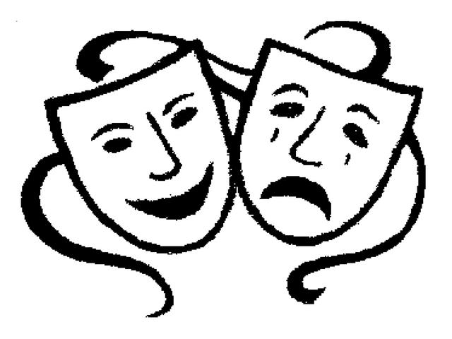 Free drama black and. Faces clipart theater
