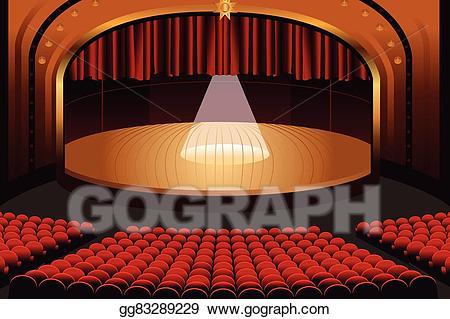 Vector art empty theater. Theatre clipart opera stage