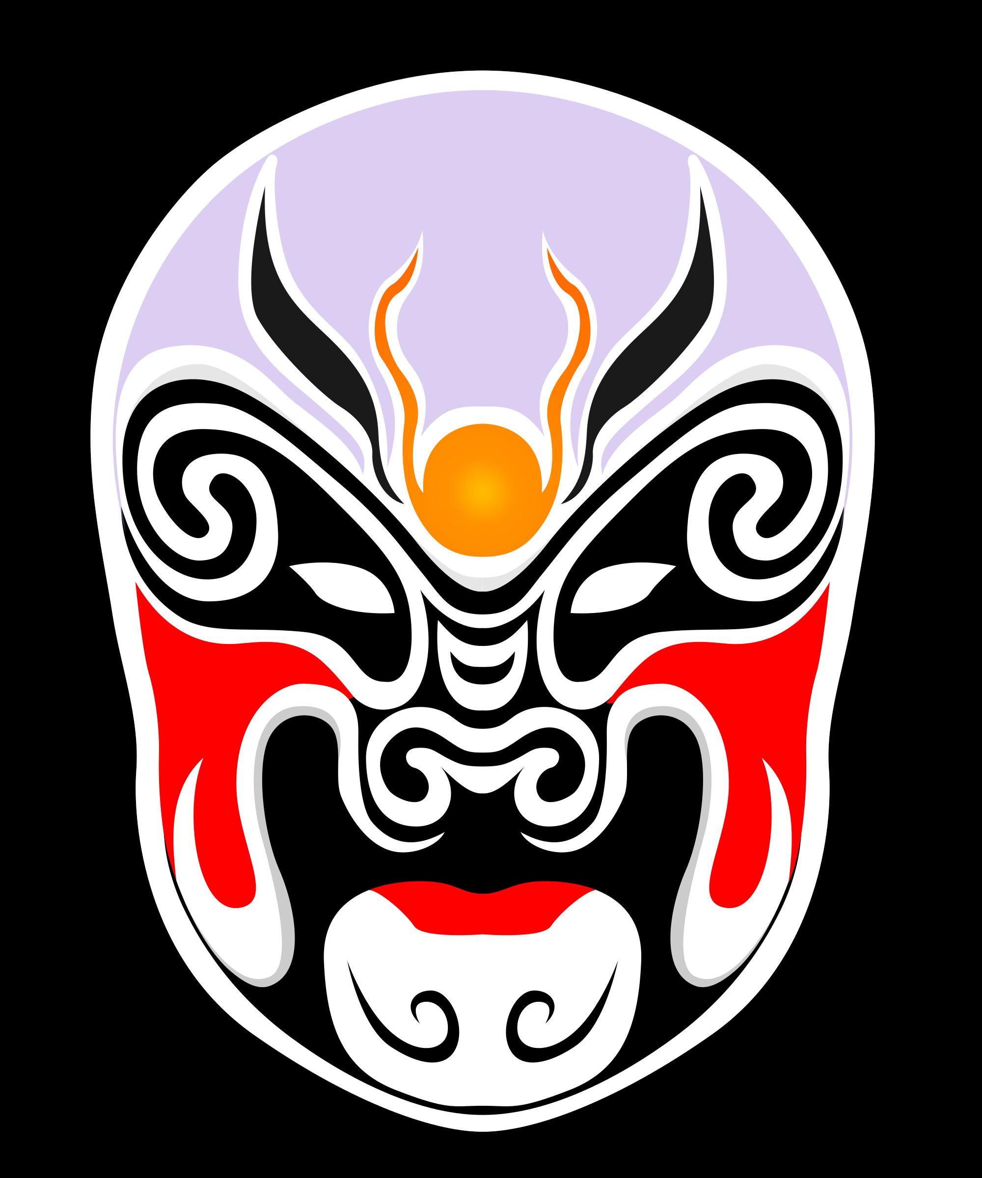Mask clipart drama. Chinese theater masks big