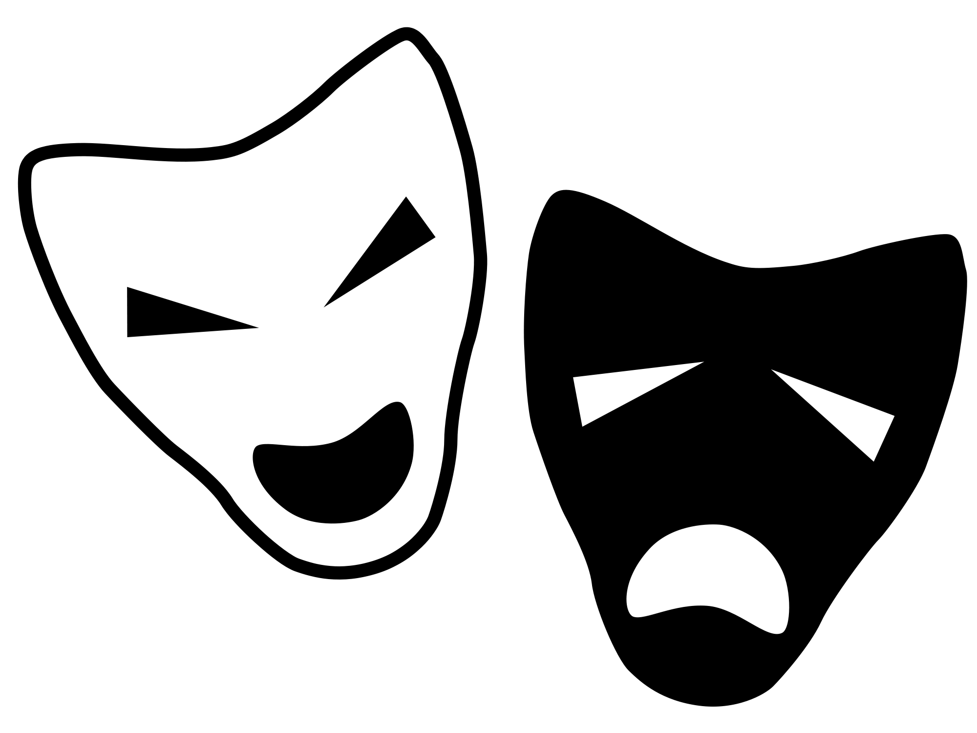 Mask clipart musical theatre. Drama clip art black